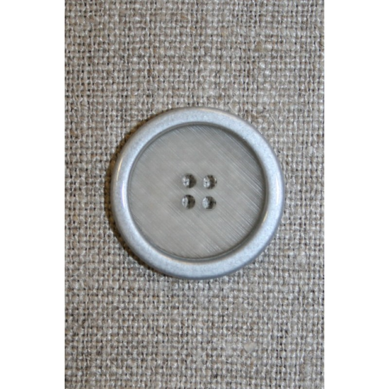 4-huls knap klar m/sølv-kant, 22 mm.