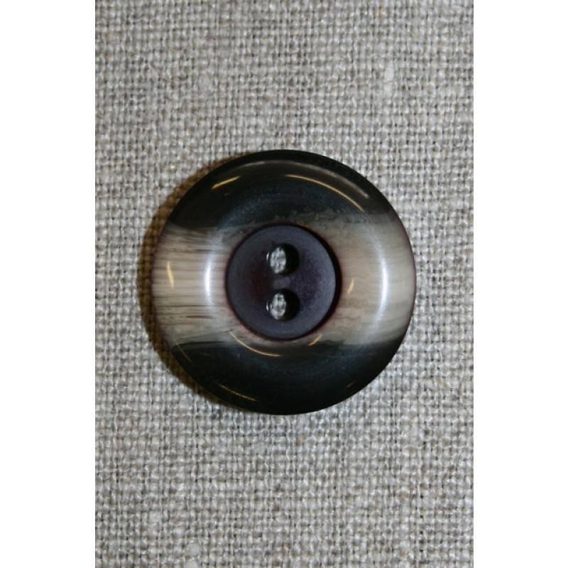 Brun/beige 2-huls knap, 25 mm.