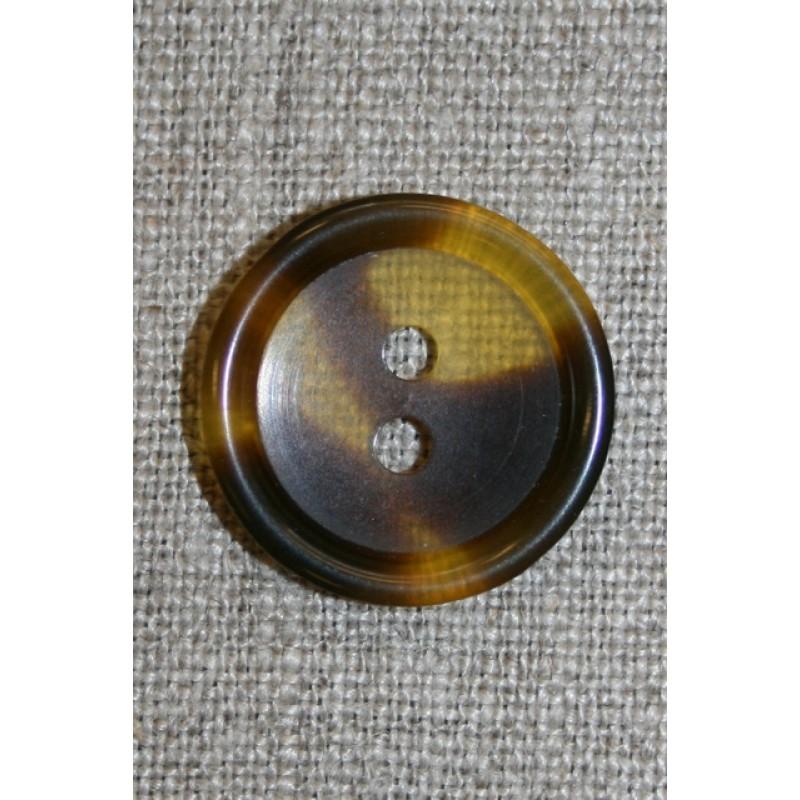 Knap klar/brun meleret, 20 mm.