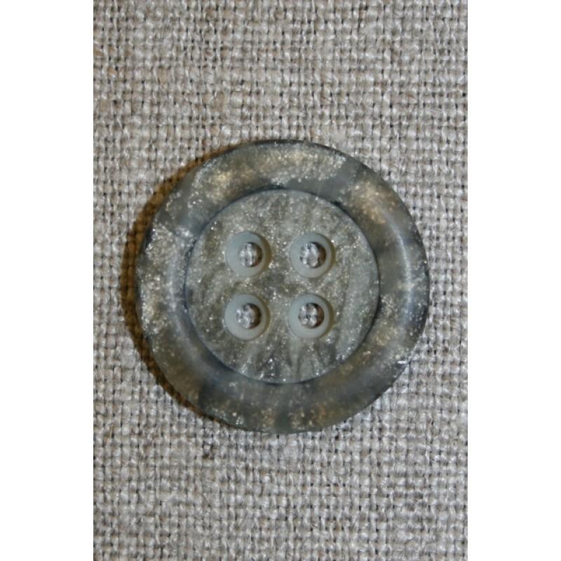 4-huls knap meleret sten-look, grå/brun, 22 mm.-33