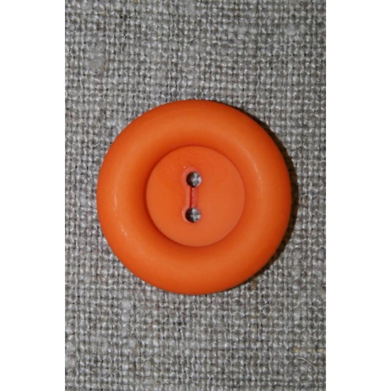 Orange 2-huls knap, 22 mm.