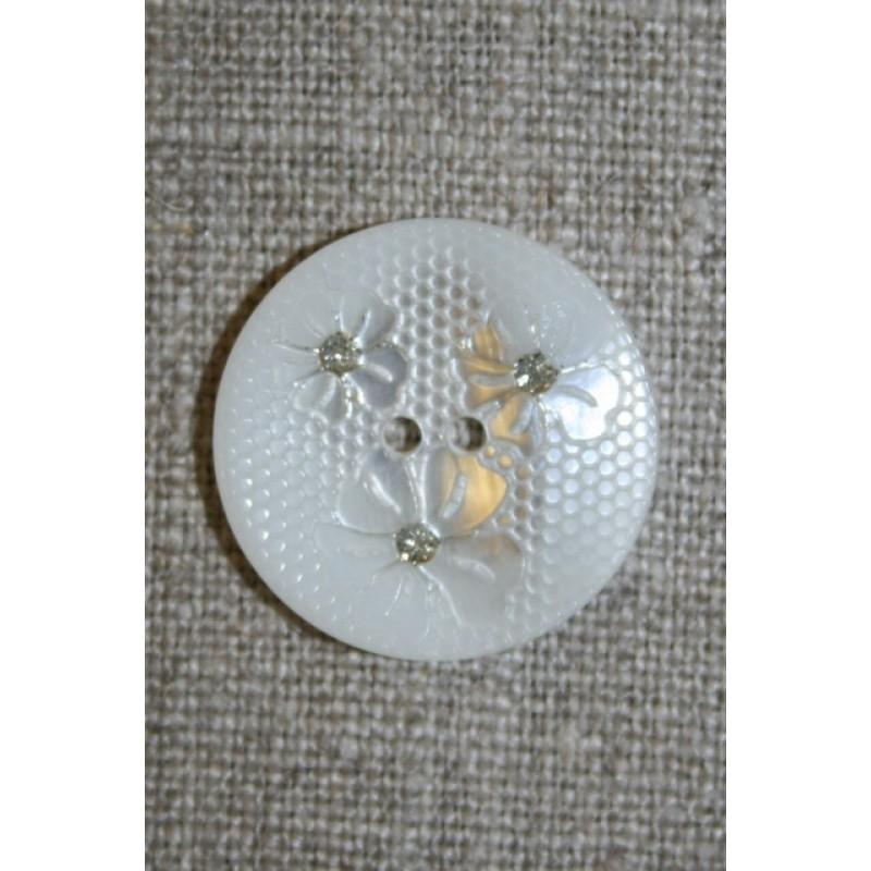 Hvid knap m/blomster/glimmer, 22 mm.-31