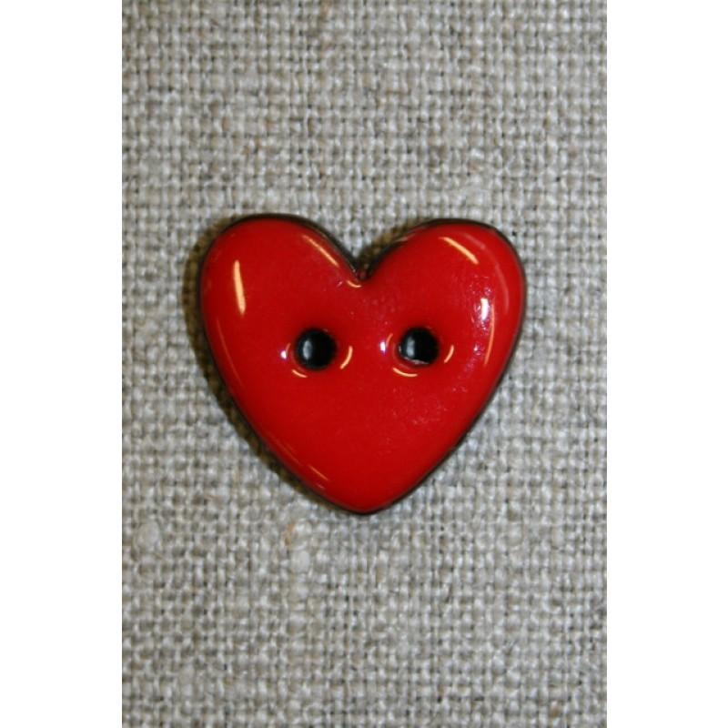 Kokos-knap m/emalje, hjerte rød 20 mm.
