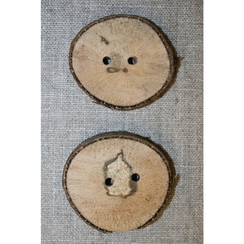 Håndlavet rå træknap m/bark, 40-48 mm.
