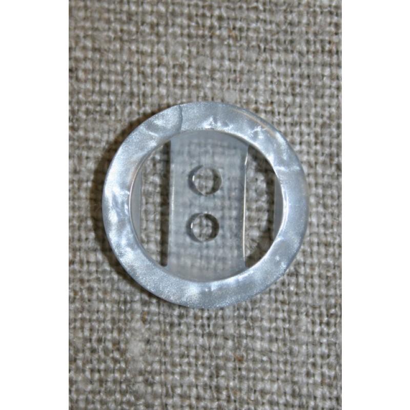 Lyseblå2-huls knap m/kant, 18 mm.-33
