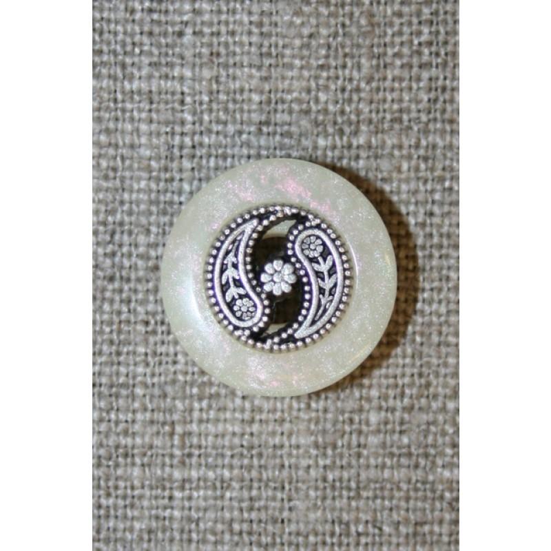 Knap off-white m/sølv midte-33