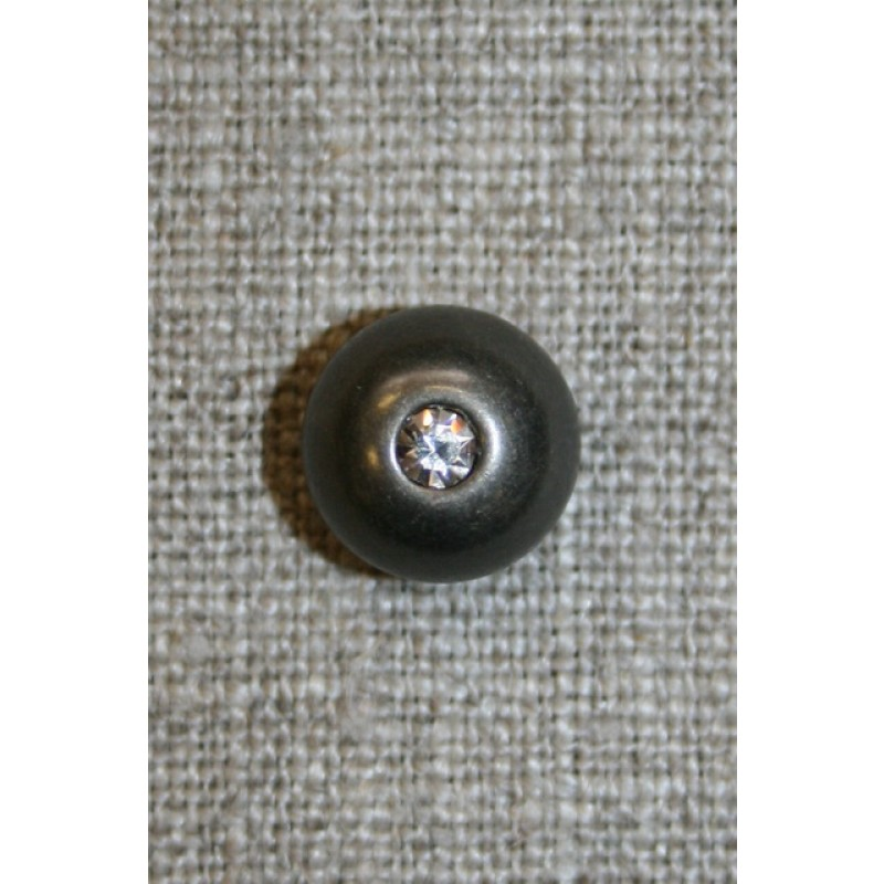 Oxyderet rund knap m/simili-sten, 11 mm.