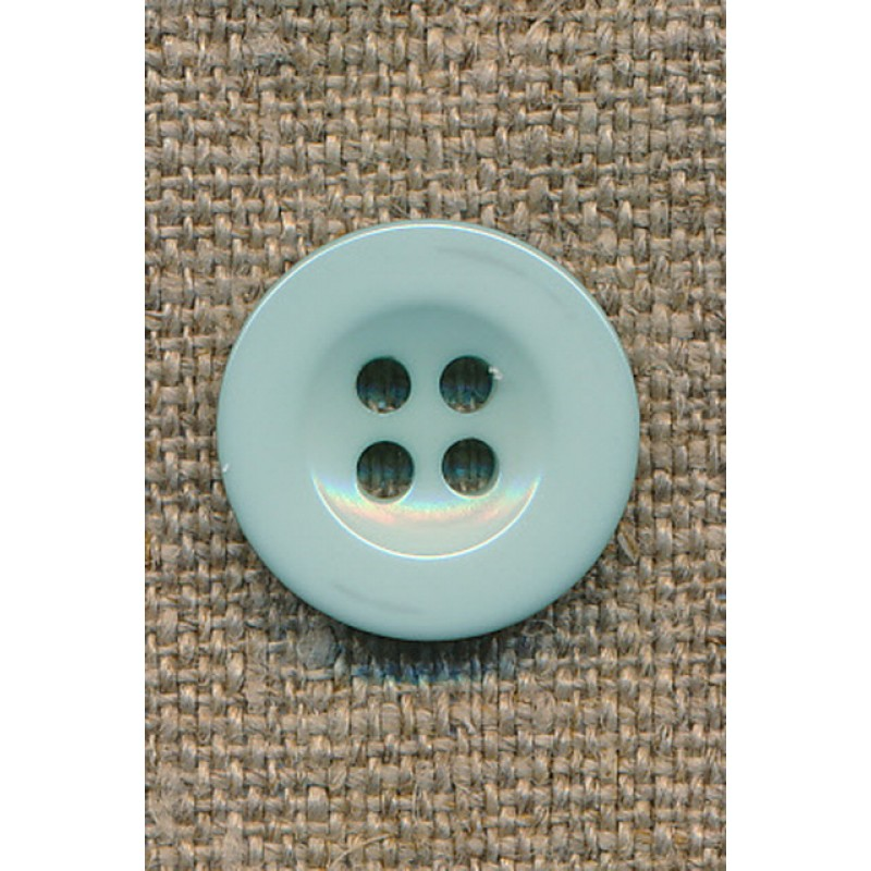 Lys aqua 4-huls knap, 18 mm.-31