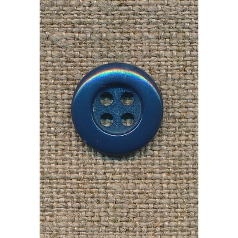 4-huls knap 12 mm, petrol-blå