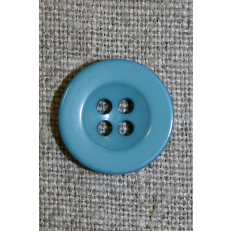 Lys petrol 4-huls knap, 18 mm.-33