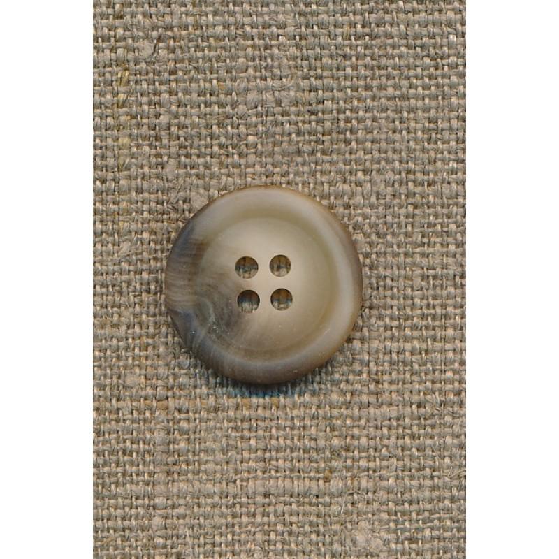 4-huls knap meleret off-white/brun, 20 mm.-33