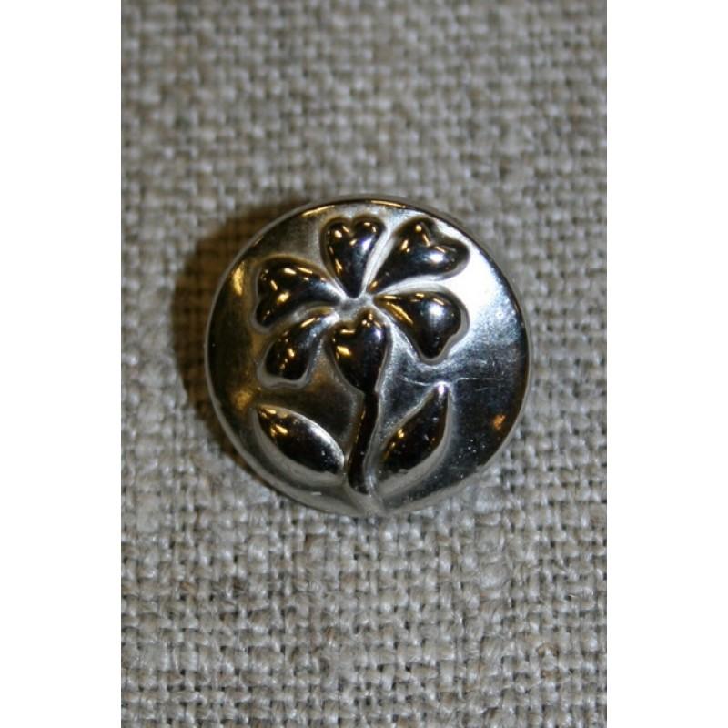 Metal-knap m/blomst, sølv 15 mm.