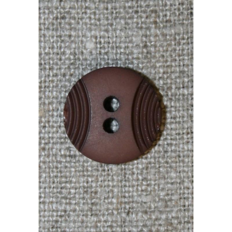 2-huls knap mørkebrun m/buer, 15 mm.
