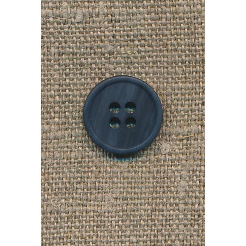 4-huls knap mørkeblå-meleret, 15 mm.-31