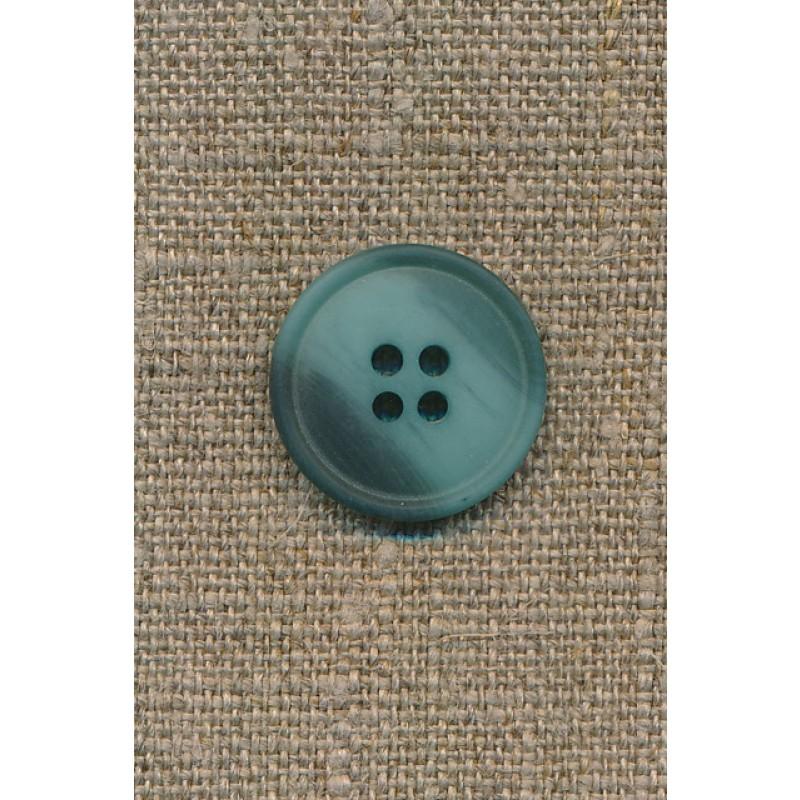 4-huls knap meleret aqua/petrol-grøn, 20 mm.