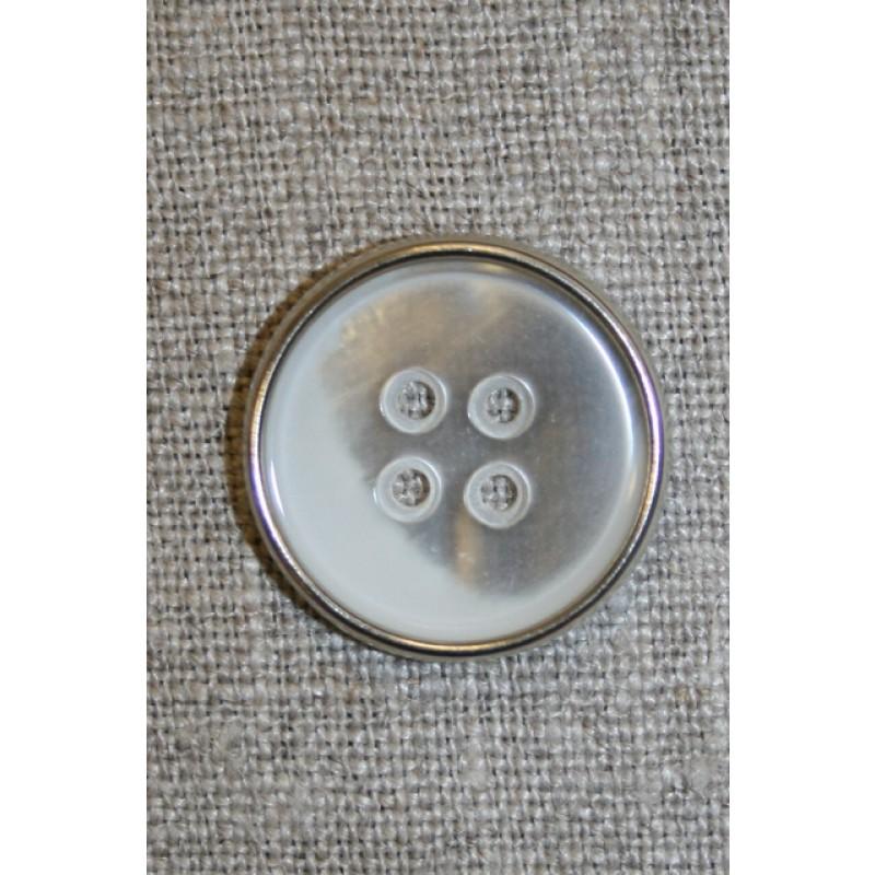 4-huls knap hvid/sølv, 23 mm.-31