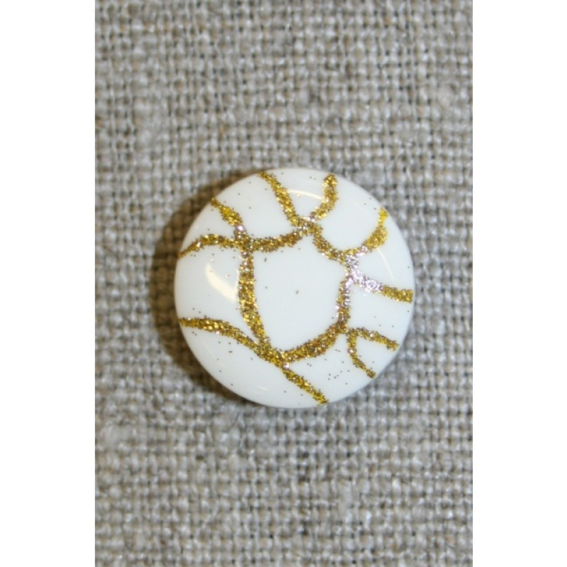 Knap hvid m/guld-mønster, 15 mm.