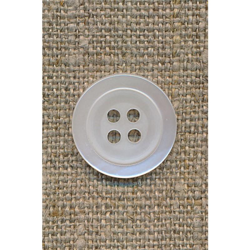Knækket hvid blank 4-huls knap 17 mm