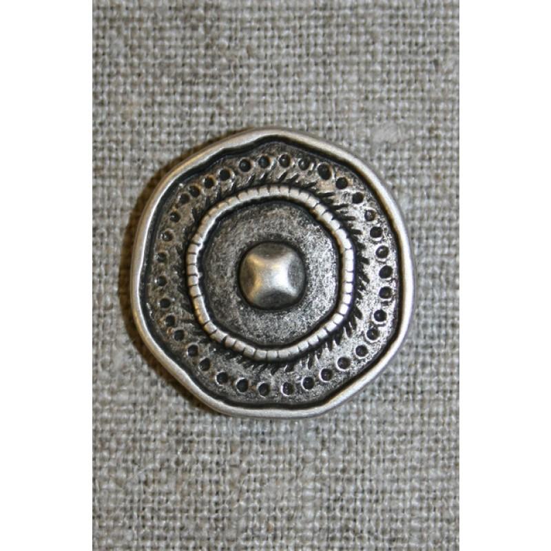 Metal-knap i skjold-look gl.sølv, 25 mm.-31