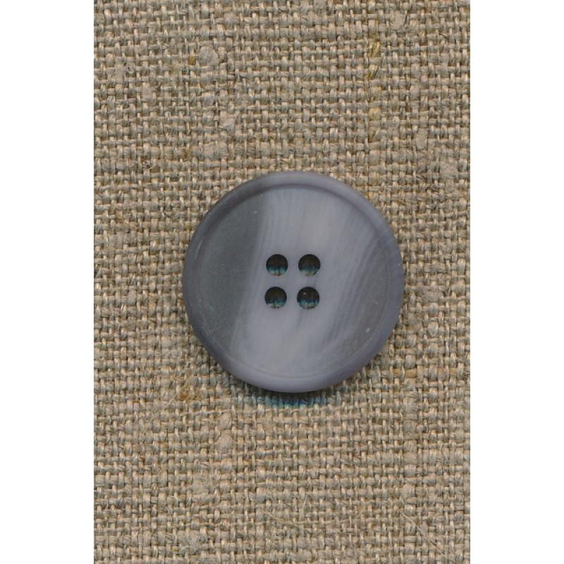 4-huls knap støvet lyseblå/grå, 23 mm.-35