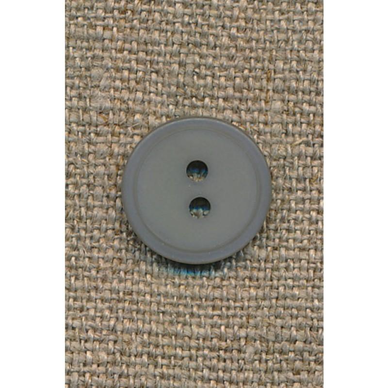 Lys grå 2-huls knap, 15 mm.