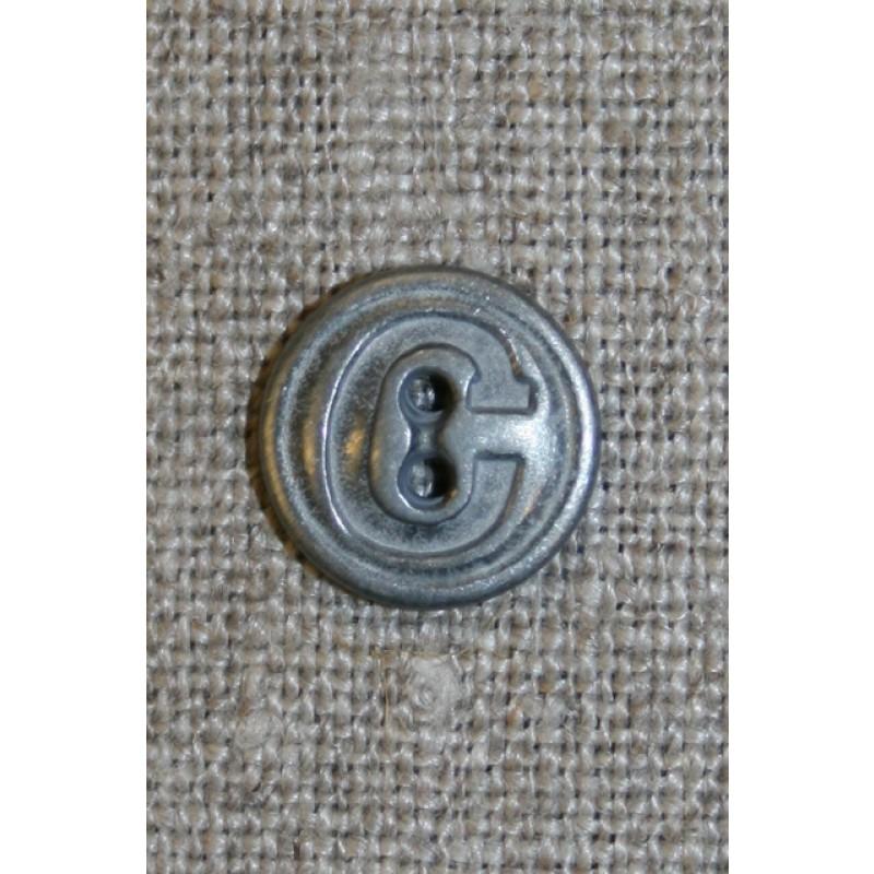 Metal-knap i tin-look 2-huls, 13 mm.