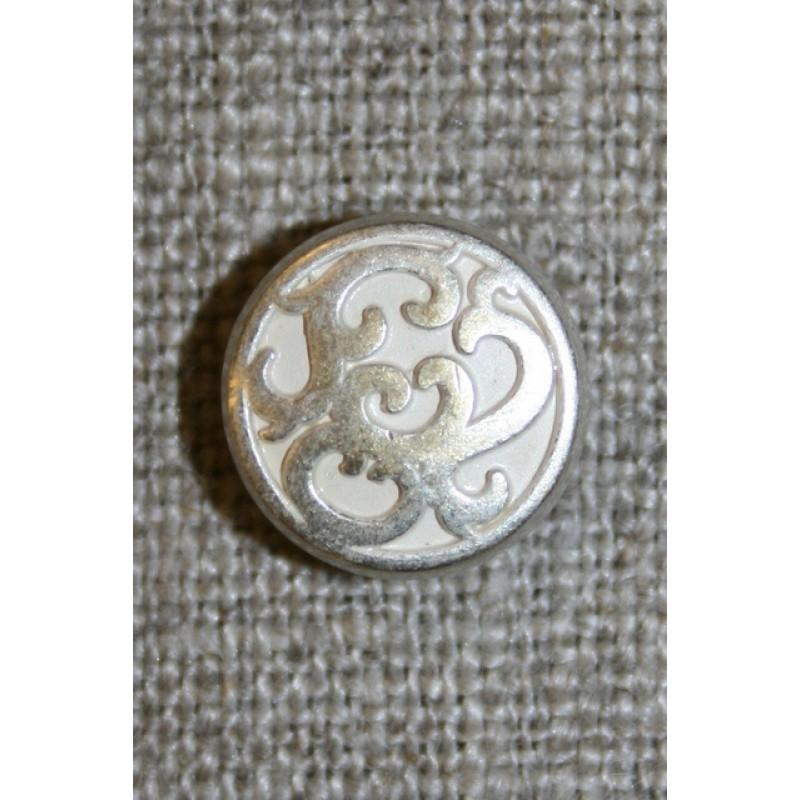 Metal-knap m/mønster sølv/hvid, 13 mm.