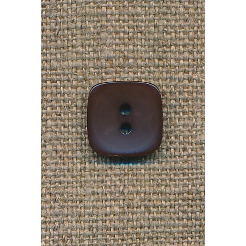 Firkantet mørkebrun knap, 13 mm.-35