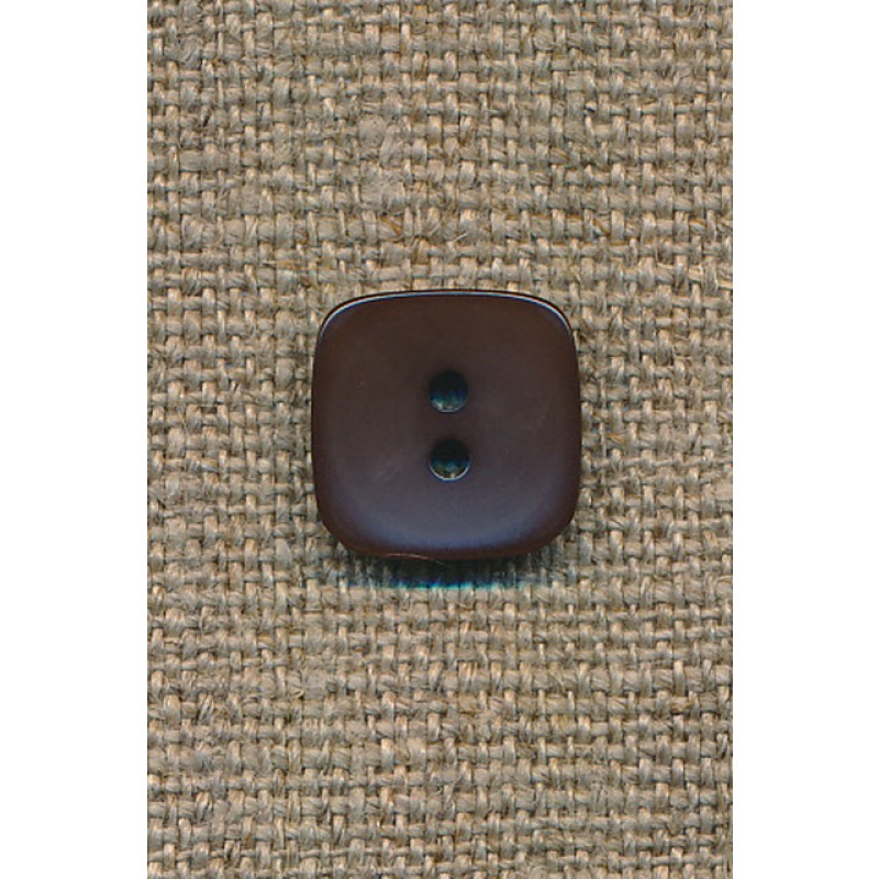 Firkantet mørkebrun knap, 13 mm.