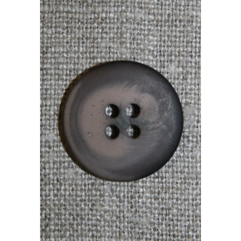 Mørkebrun/støvet brun meleret 4-huls knap, 20 mm.-33