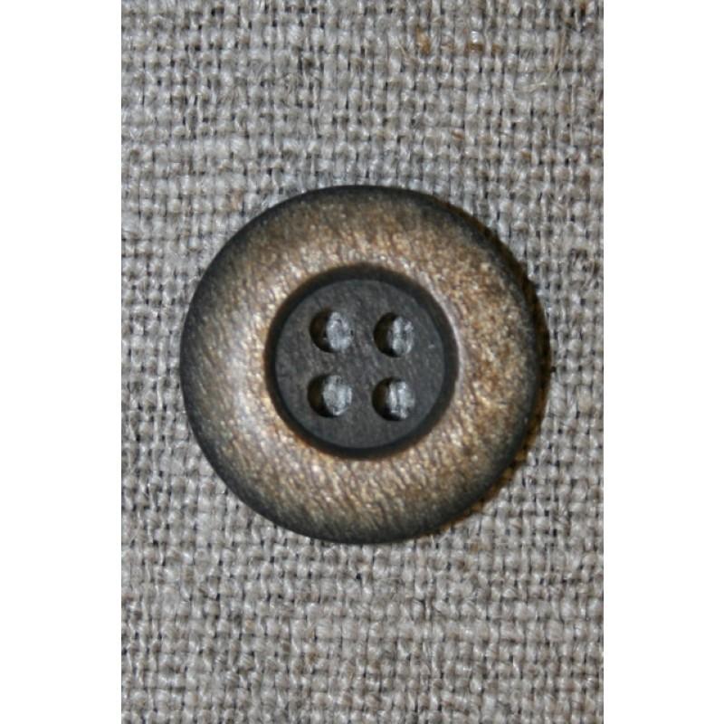 4-huls knap mørkebrun/gylden, 18 mm.-33