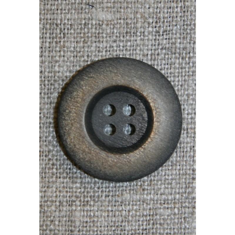 4-huls knap mørkebrun/gylden, 23 mm.