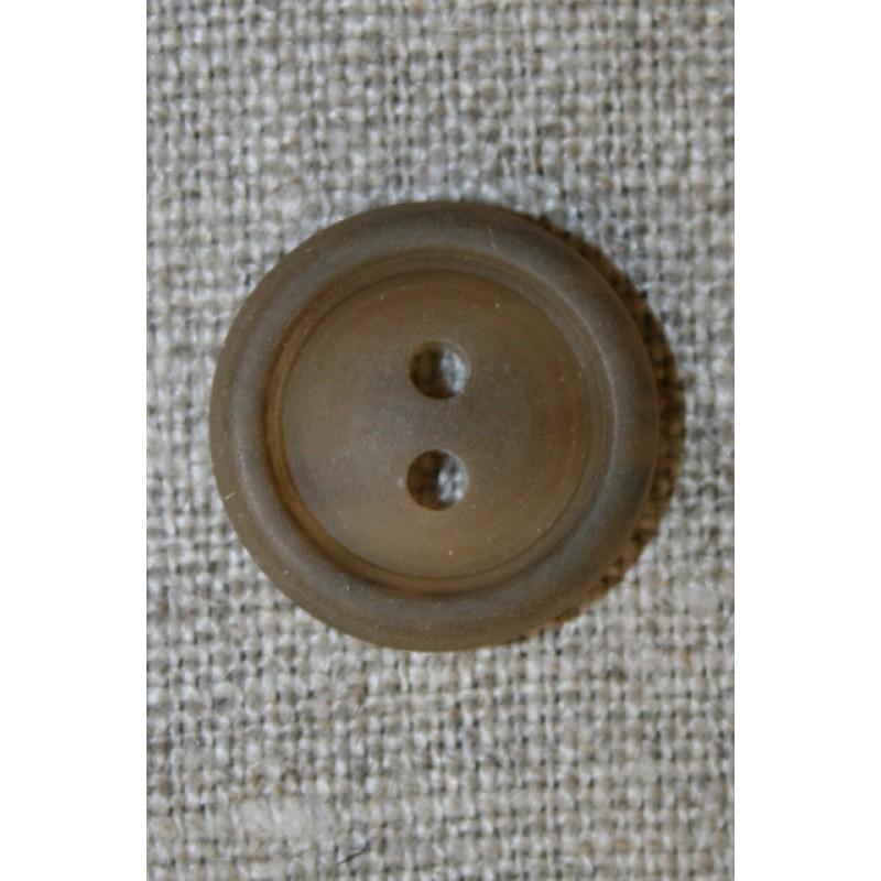 Lysebrun knap m/kant, 18 mm.