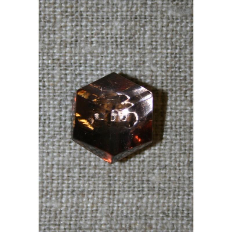Facet-slebet knap i kobber-look 14 mm.-35