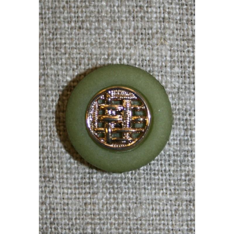 Knap oliven/guld, 18 mm.