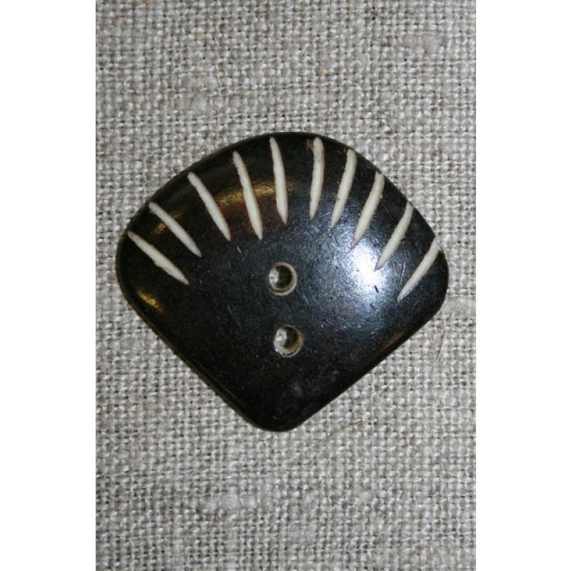 """Horn-knap """"vifte"""" mørkebrun-31"""