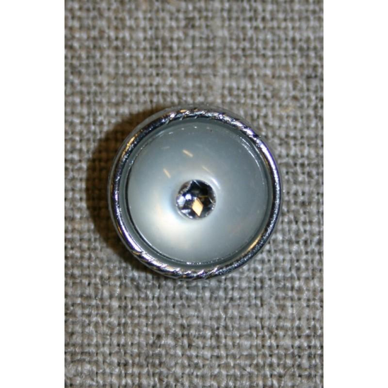 Rund knap sølv/klar-31