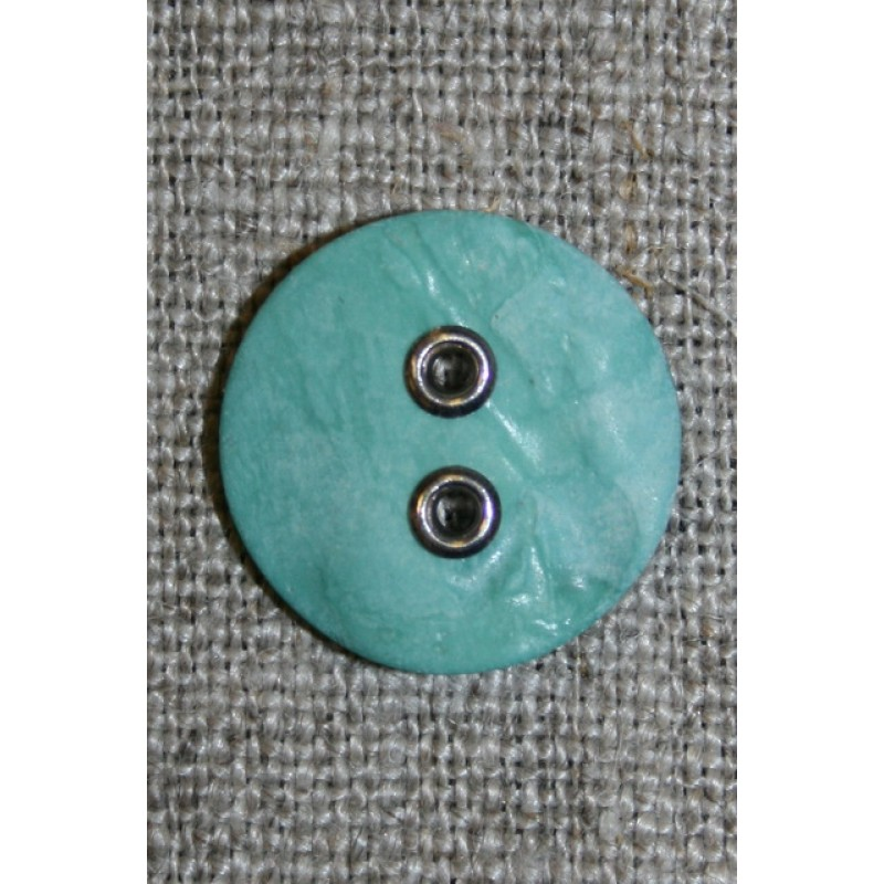 Aqua-Irgrøn knap m/sølv-huller, 18 mm.-31