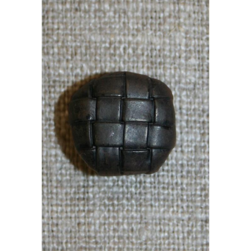 Mørkebrun knap m/flet-mønster, 15 mm.