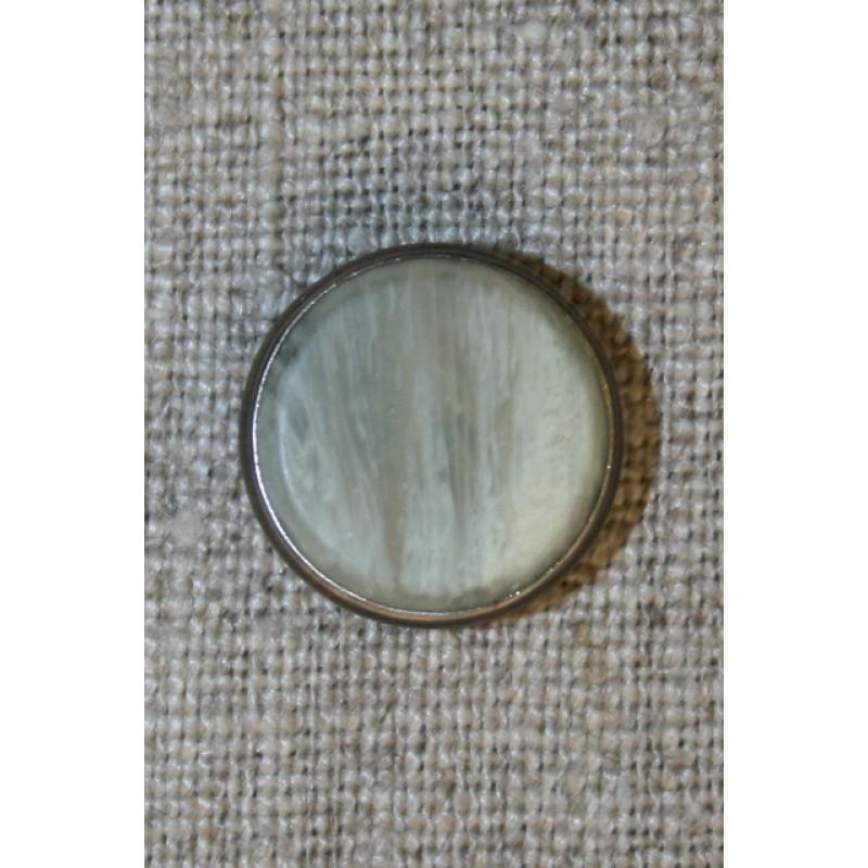 Knap marmor-look m/sølv-kant kit/koks, 16 mm.