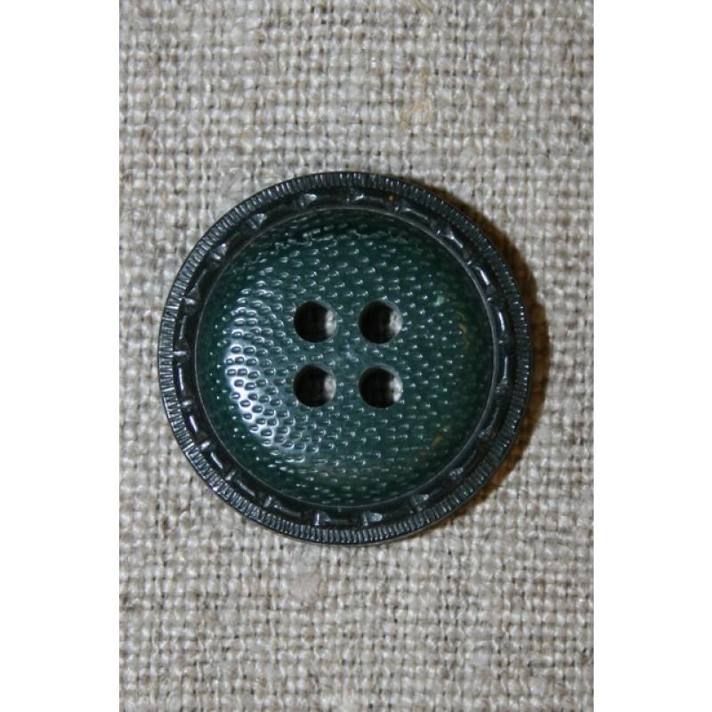 4-huls knap m/kant, flaskegrøn
