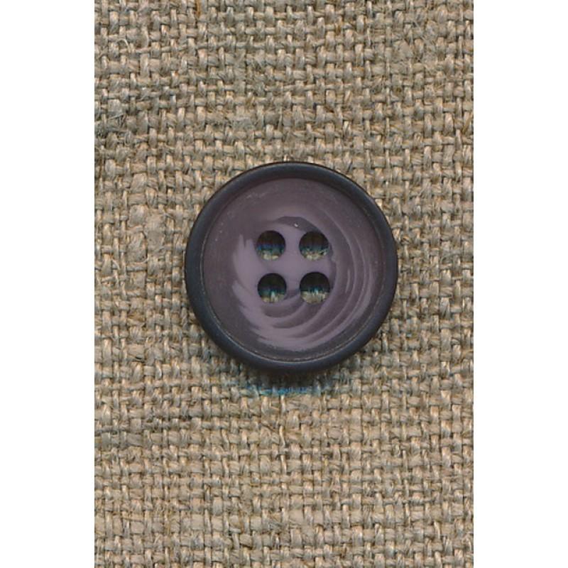 4-huls knap meleret lilla/lyng, 15 mm.-35