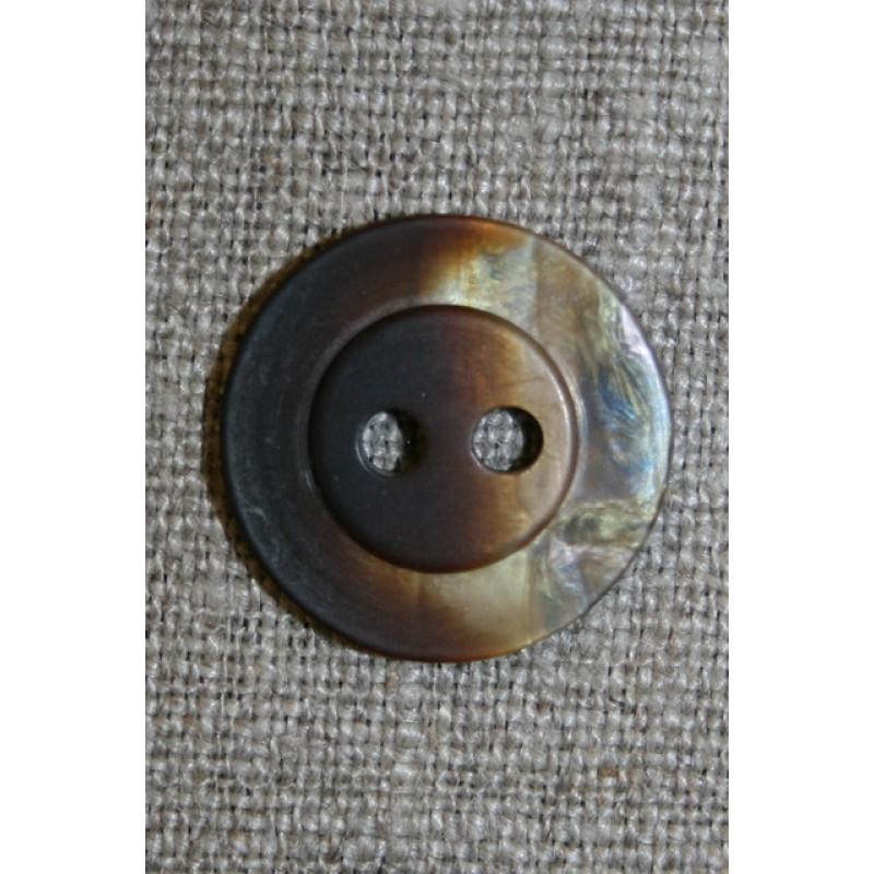 Blank meleret 2-huls knap brun/beige-35