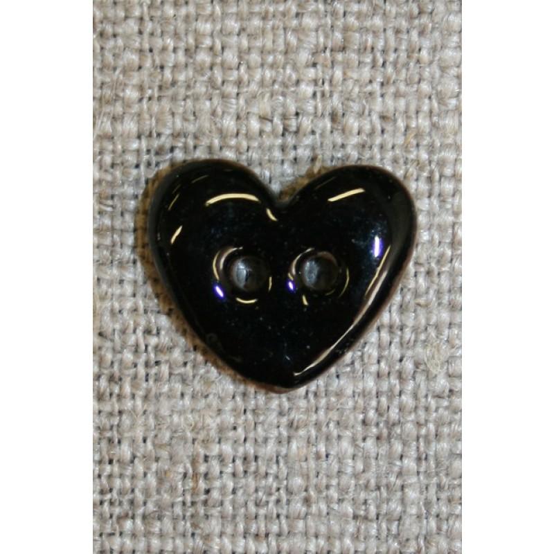 Kokos-knap m/emalje, hjerte sort 15 mm.-35