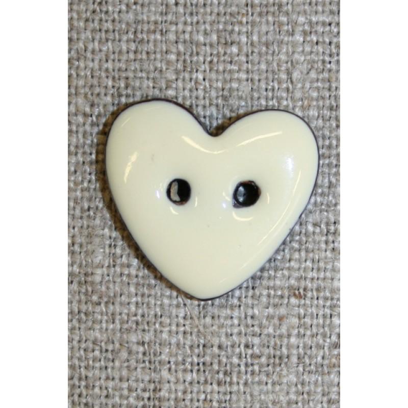 Kokos-knap m/emalje, hjerte off-white 20 mm.