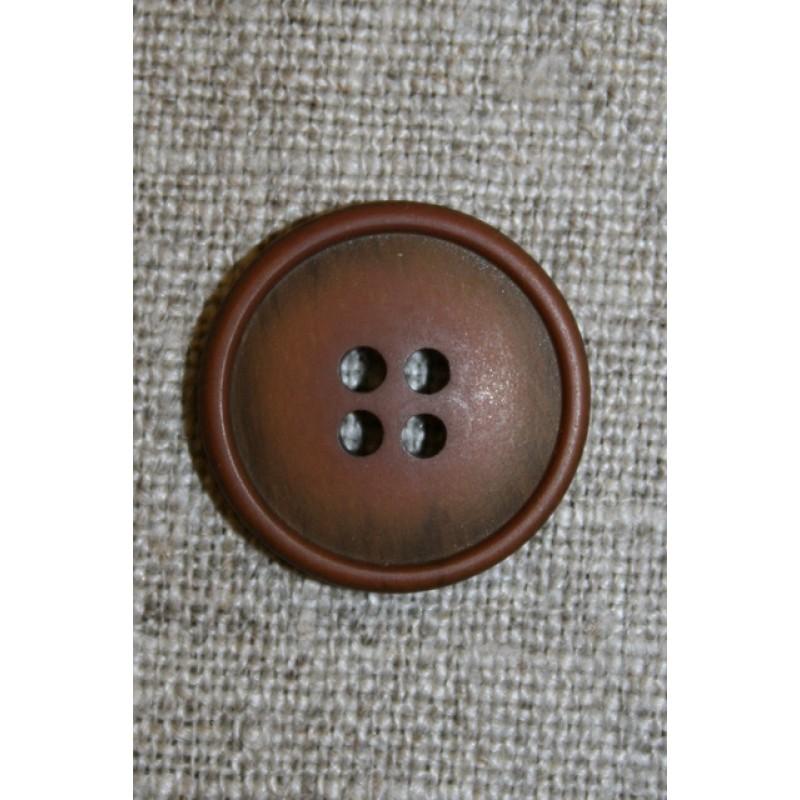 4-huls knap rust-brun