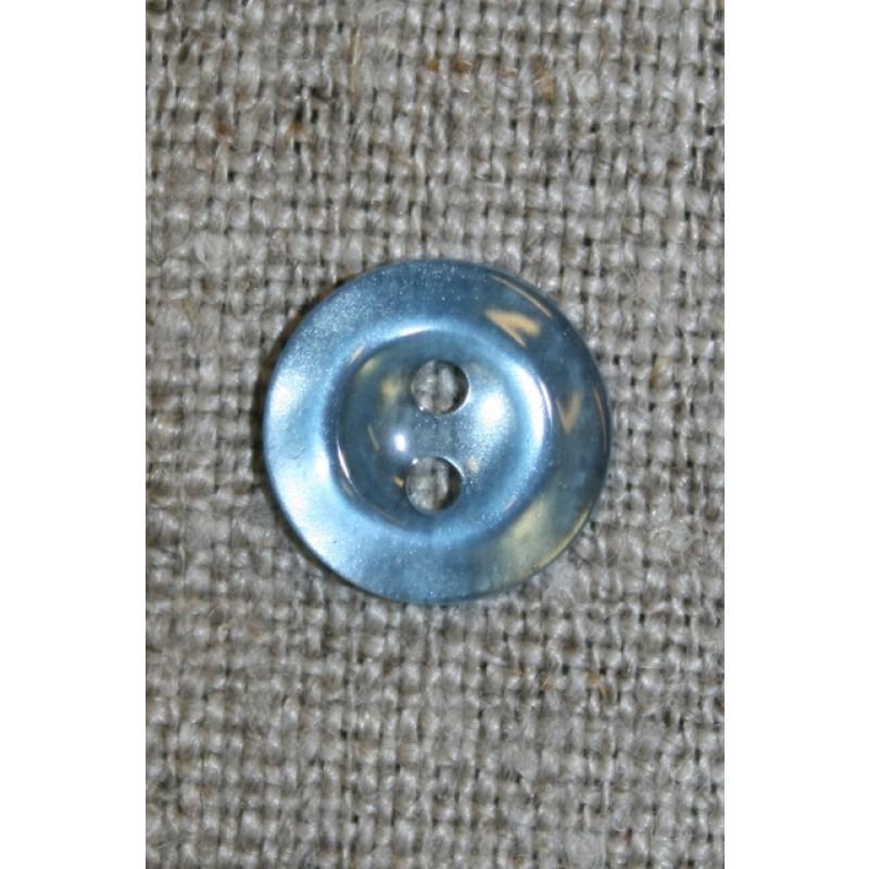 Lyseblå blank 2-huls knap 11 mm.