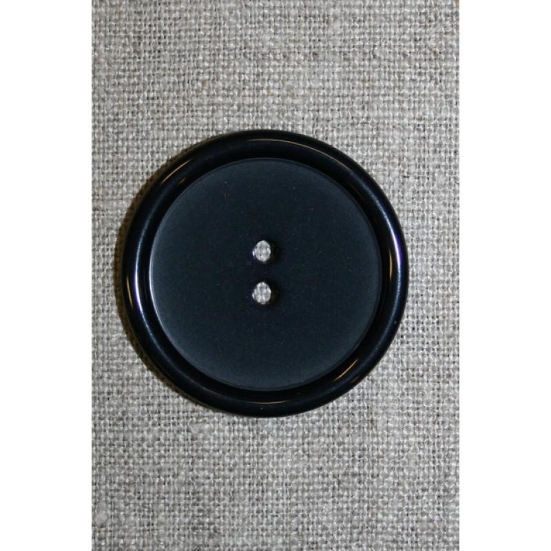 Stor sort 2-huls knap, 38 mm.