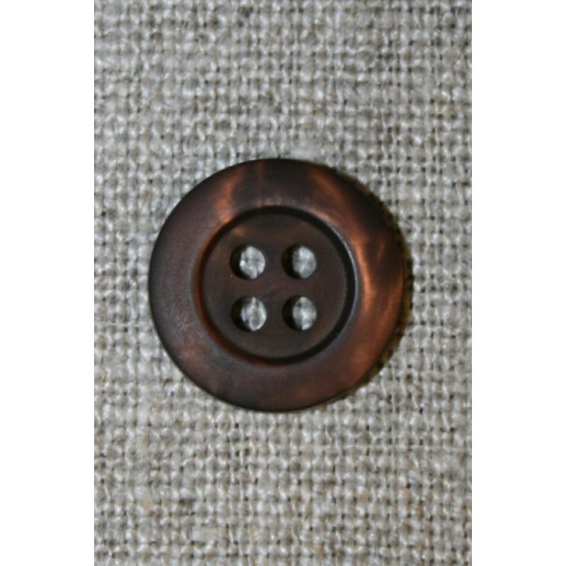 4-huls knap mørkebrun meleret, 15 mm.