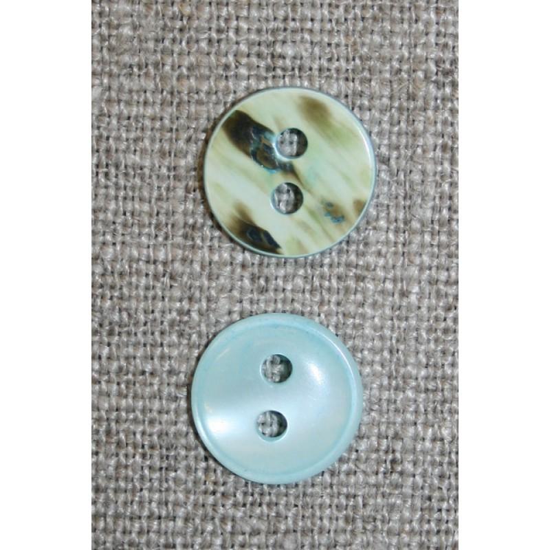 2-huls knap aqua perlemors-look, 13 mm.-31